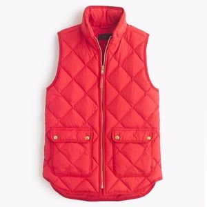 J. Crew Quilted Excursion Vest Red